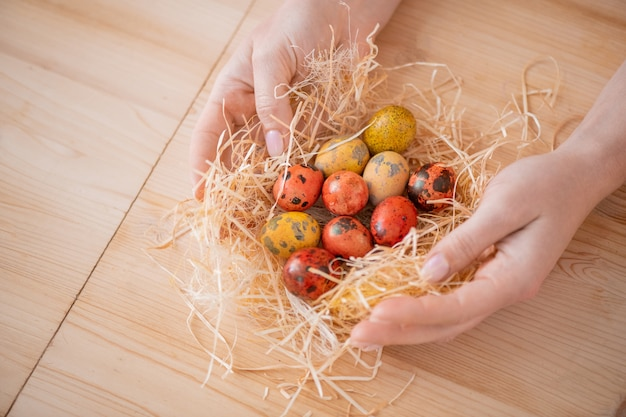 Close-up of unrecognizable woman wrapping orange and yellow easter quails eggs into hay at table