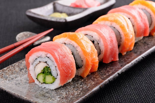 Close-up of uramaki in row