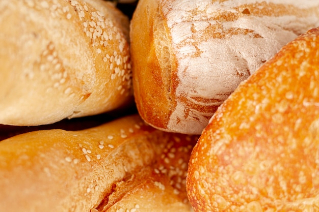 Close-up variety of baked bread