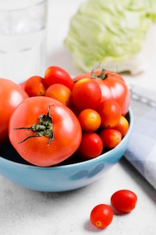 Close-up of variety of tomatoes in bowl