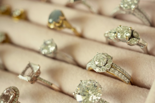 Close up on various diamond rings in box