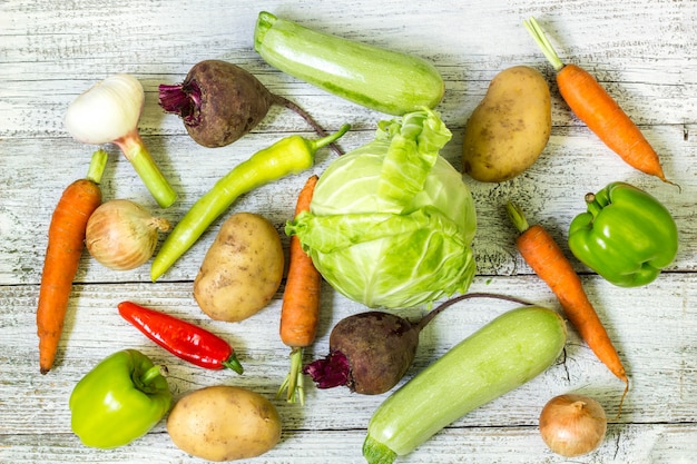 Close up of various raw vegetables