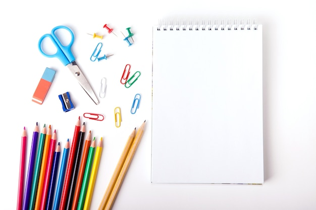 Close up of various school supplies