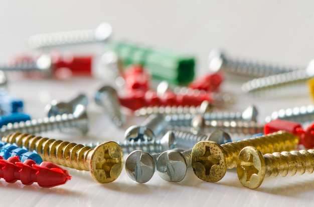 Close-up of various steel nuts