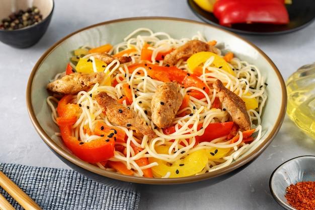 Close up of vegan stir fry noodels