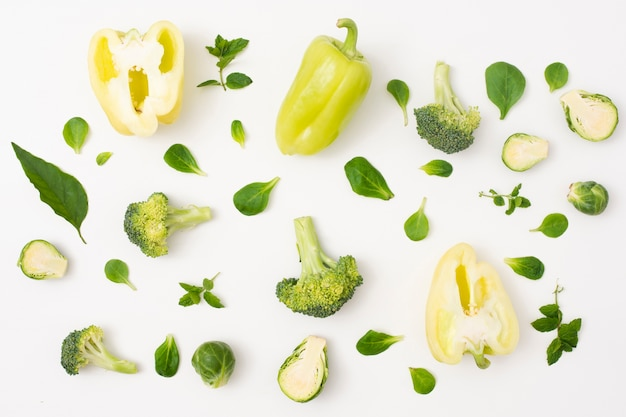 Close-up vegetables on simple white background