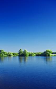 Крупным планом вертикальный вид на реку