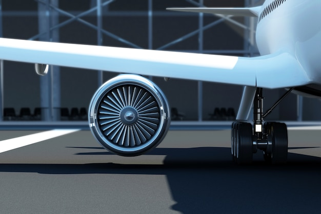 Close up view of airplane turbine engine