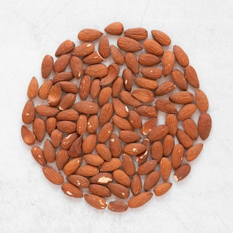 Close-up view of almonds concept