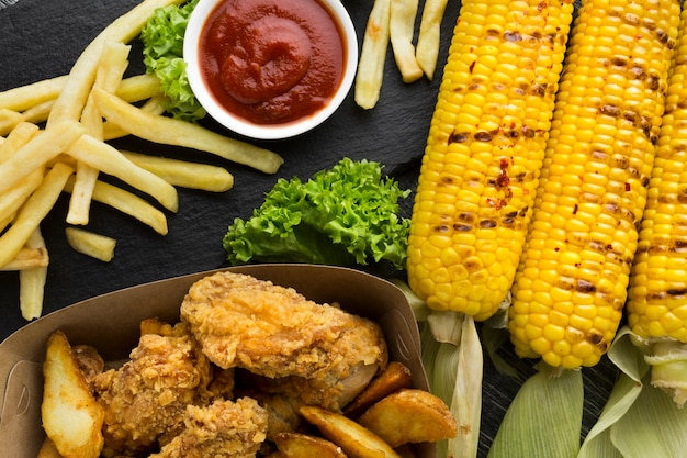 Close-up view of american food