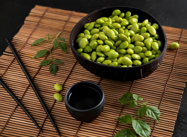 Close-up view of asian beans concept