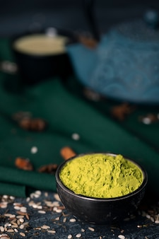 Close-up view of asian tea matcha