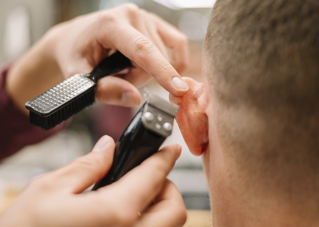 Close-up view of barbershop concept