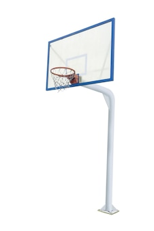 Close up view of the basketball hoop isolated over white background