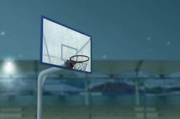 Close up view of the basketball hoop with the night scene background