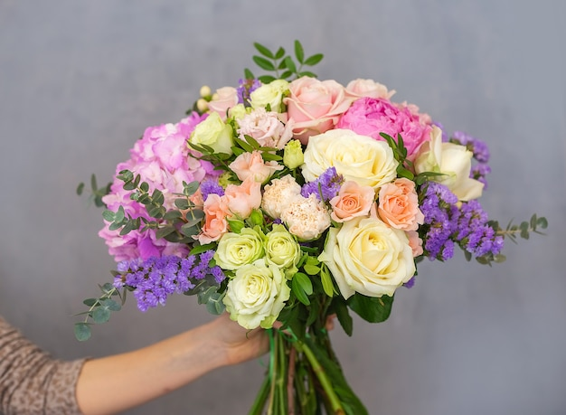 Close up view of a beautiful bouquet of mixed coloful flowers