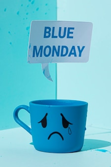Close-up view of blue monday concept