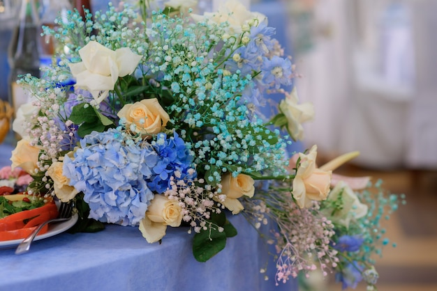 Close up view of bouquet with beautiful various flowers
