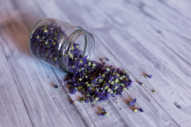 Close up view of a bowl with purple plant seeds. grey table background. daytime, indoors. natural and healthy ingredients