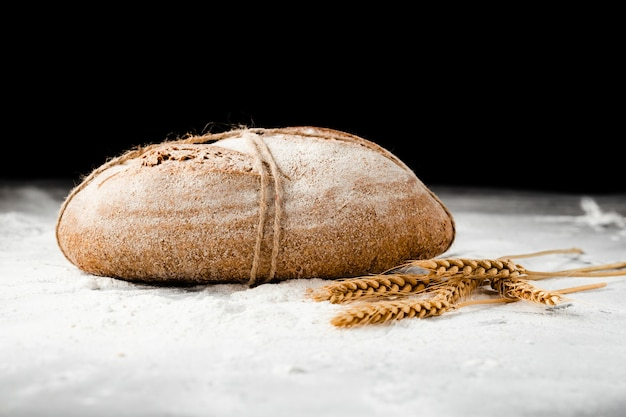 Close-up view of bread and wheat