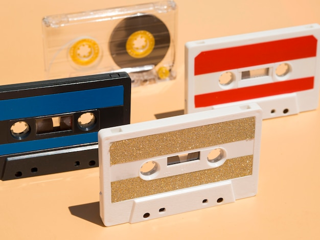 Close-up view of casette music concept