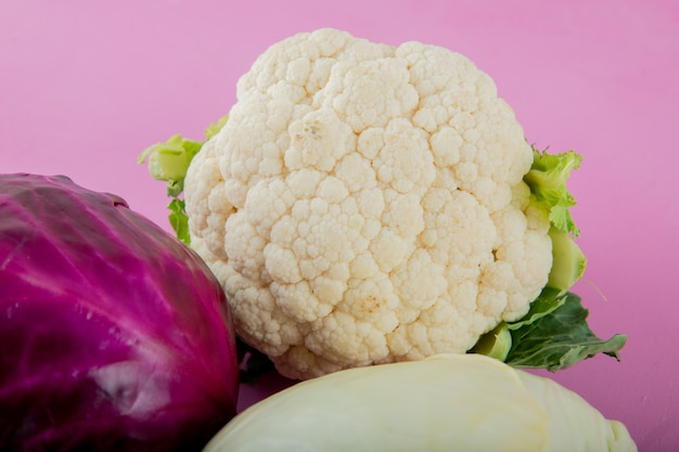 Close-up view of cauliflower with purple cabbage on purple background