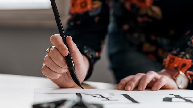 Vista ravvicinata del concetto di inchiostro cinese
