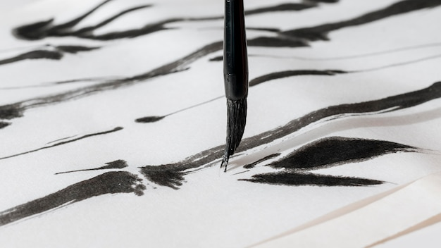 Close-up view of chinese ink concept