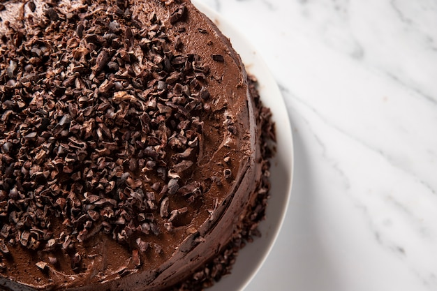 Close-up view of chocolate cake concept