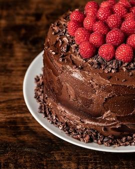 Vista ravvicinata del concetto di torta al cioccolato