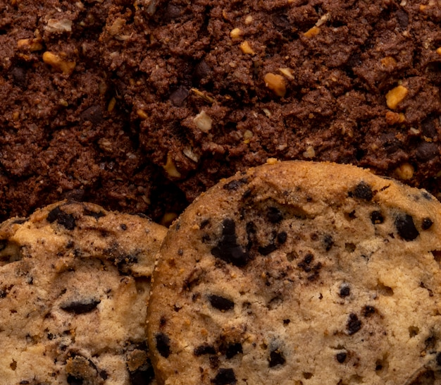 Close up view of chocolate chip cookies with cereals nuts and cocoa