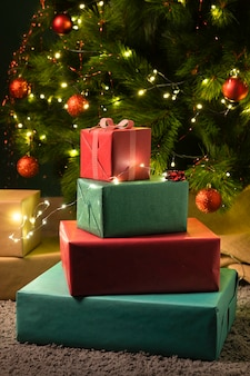 Close-up view of christmas gifts concept