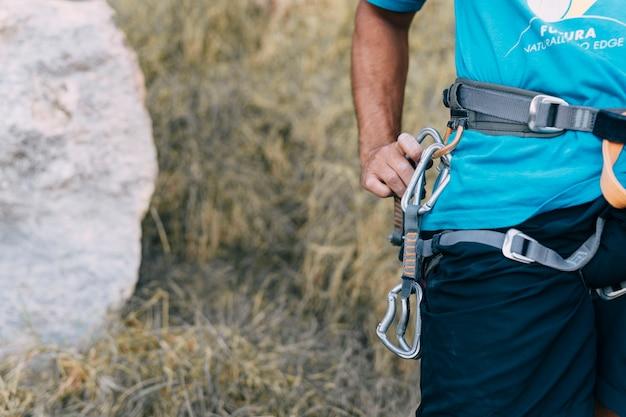 Close up view of climber
