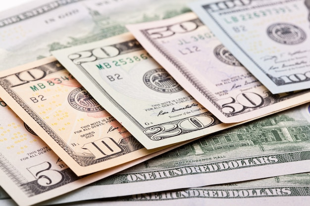 Close up view of colorful dollar banknote.