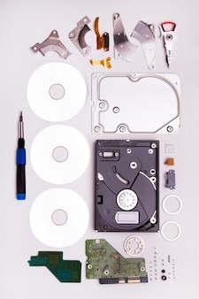 Close up view of a computer disassembled  hard drive isolated on a white background.