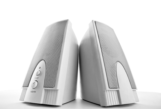 Close-up view of computer loudspeakers
