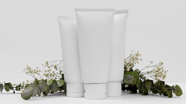 Vista ravvicinata del concetto di tubo crema cosmetica