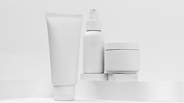 Close-up view of cosmetic products with copy space