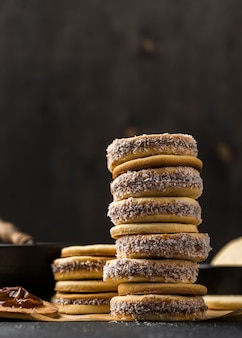 Close-up view of delicious alfajores