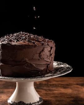 Vista ravvicinata del delizioso concetto di torta al cioccolato
