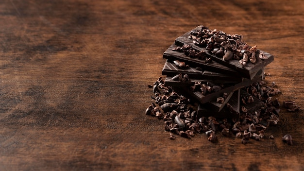 Close-up view of delicious chocolate on wooden table