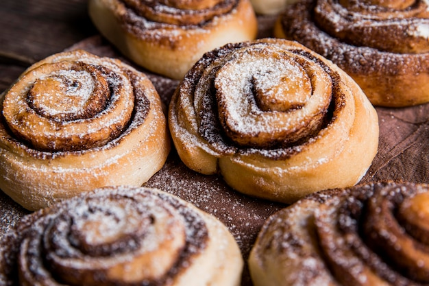 Close-up view of delicious cinnamon rolls