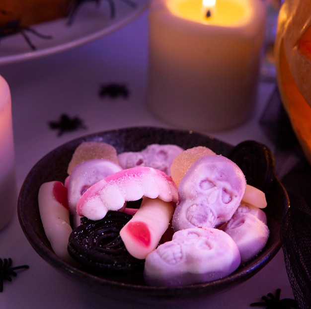 Close-up view of delicious halloween cookies