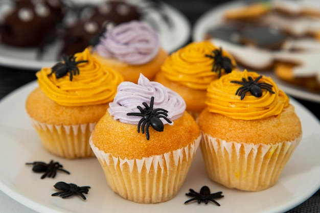 Close-up view of delicious halloween cupcakes