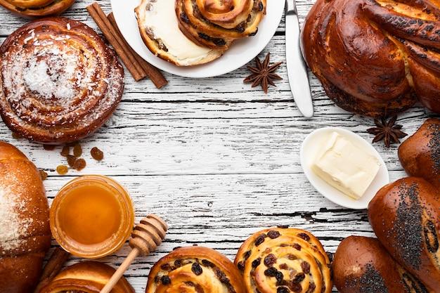Vista ravvicinata del delizioso concetto di pasticceria