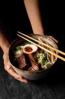 Close-up view of delicious ramen concept