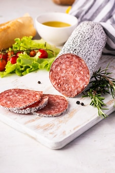 Close-up view of delicious salami concept