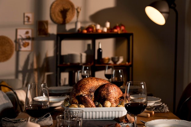 Close-up view of delicious thanksgiving meal