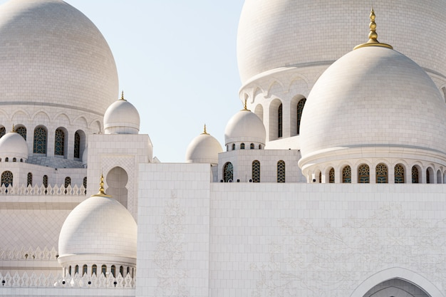 Close-up view of the domes of the abu dhabi mosque
