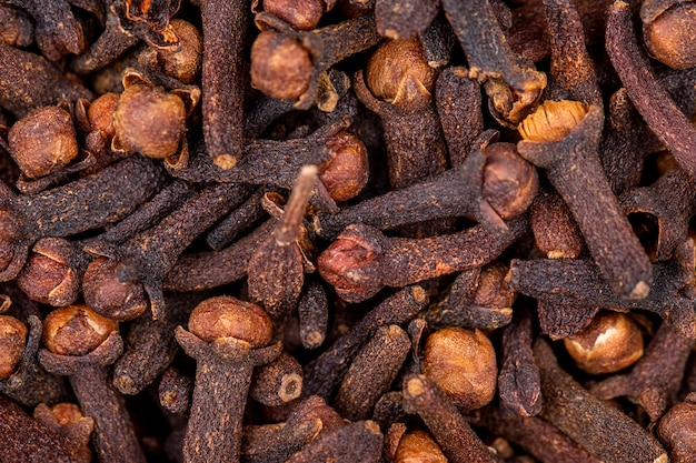 Close up view of dry organic clove spice